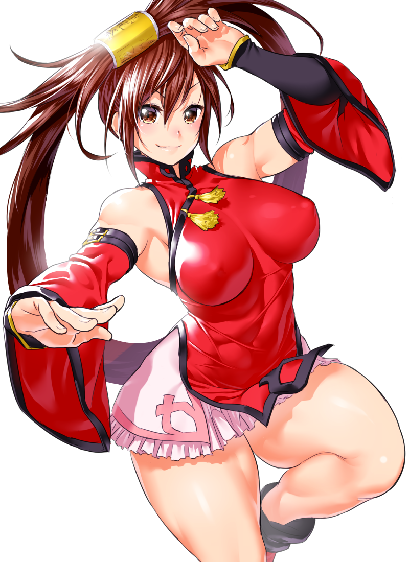 1girl bangs bare_shoulders blush breasts brown_eyes brown_hair china_dress chinese_clothes closed_mouth covered_nipples dress fighting_stance fingernails frills guilty_gear hair_ornament hair_tubes hands_up kuradoberi_jam large_breasts long_hair looking_at_viewer miniskirt one_leg_raised onsoku_maru shiny shiny_hair shiny_skin sidelocks simple_background skirt sleeveless smile solo thighs very_long_hair wide_sleeves