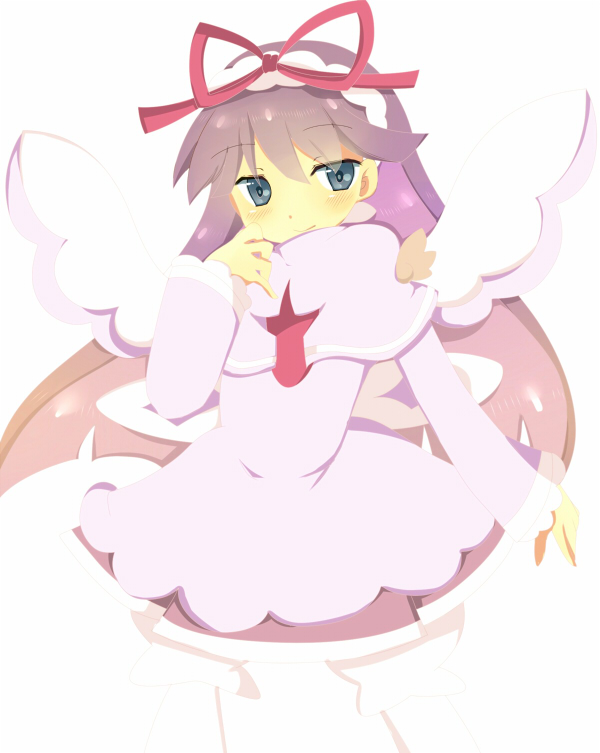 1girl blush bow dress feli_(puyopuyo) grey_eyes long_sleeves looking_at_viewer pink_dress purple_hair puyopuyo red_bow rento_(rukeai) smile solo wings