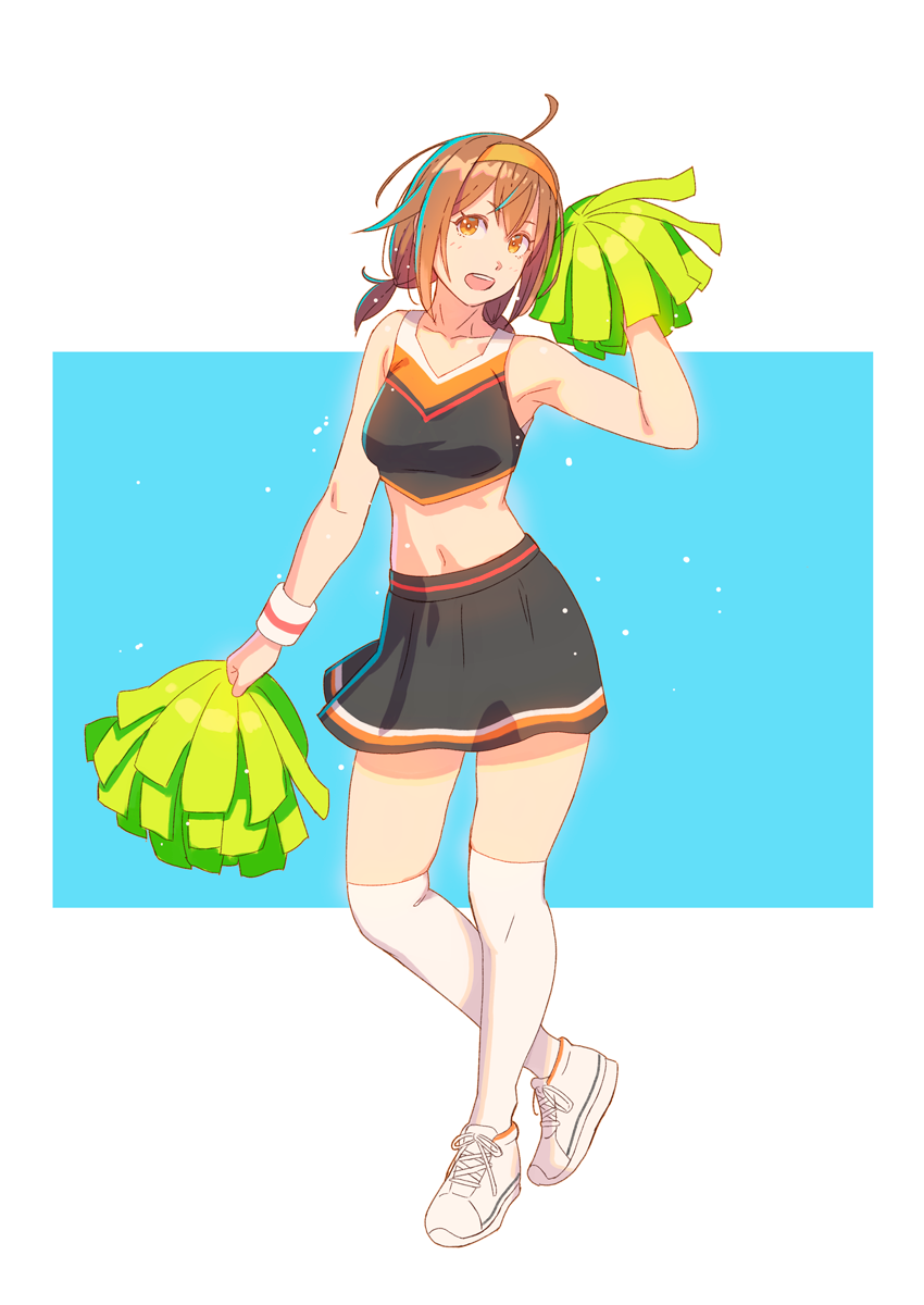 1girl ahoge alternate_costume black_skirt brown_eyes brown_hair cheerleader crop_top full_body hairband highres kantai_collection looking_at_viewer low_twintails midriff orange_hairband pom_poms school_uniform serafuku shiratsuyu_(kantai_collection) short_hair short_twintails simple_background skirt solo standing thigh-highs twintails two-tone_background white_background white_legwear yuuji_(and)