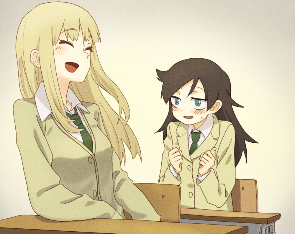 2girls :d ^_^ black_hair blazer blush cardigan chair clenched_hands closed_eyes commentary_request desk green_neckwear jacket katou_asuka kuroki_tomoko laughing long_hair multiple_girls necktie open_mouth school_chair school_desk school_uniform shiratama_(hockey) sitting smile watashi_ga_motenai_no_wa_dou_kangaetemo_omaera_ga_warui!