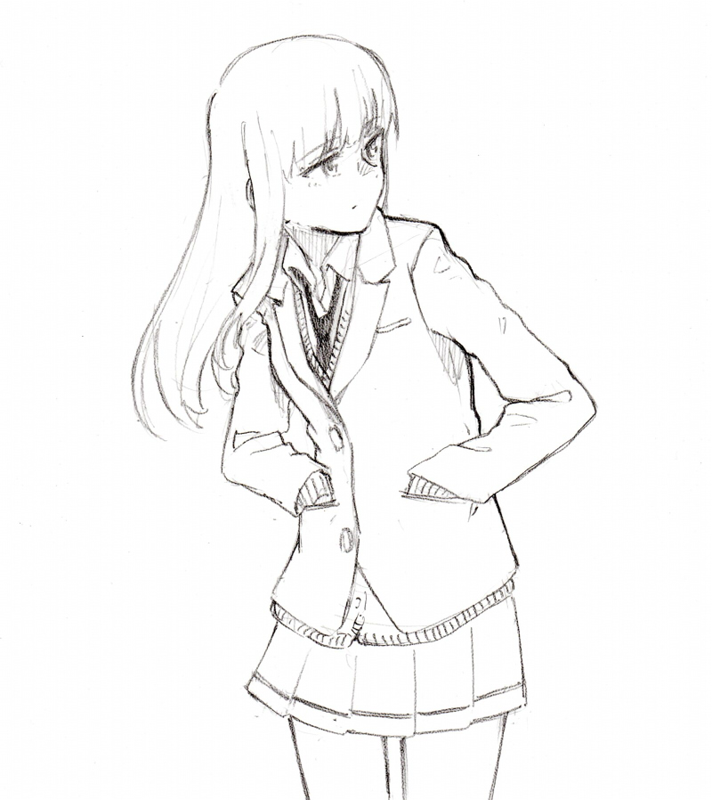 1girl blazer commentary_request graphite_(medium) hands_in_pockets jacket katou_asuka long_hair looking_to_the_side monochrome necktie pensive shiratama_(hockey) sketch solo traditional_media watashi_ga_motenai_no_wa_dou_kangaetemo_omaera_ga_warui!