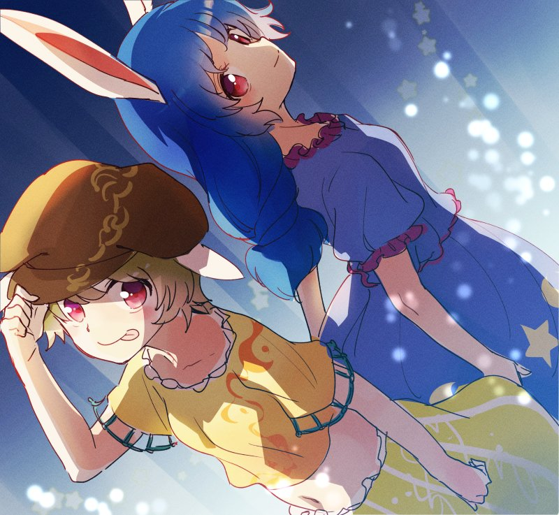 2girls :p adjusting_clothes adjusting_hat animal_ears blonde_hair blue_shirt blush brown_hat crescent_moon floppy_ears hat long_hair looking_at_viewer makuwauri midriff moon multiple_girls navel rabbit_ears red_eyes ringo_(touhou) seiran_(touhou) shirt short_hair short_sleeves smile star tongue tongue_out touhou yellow_shirt