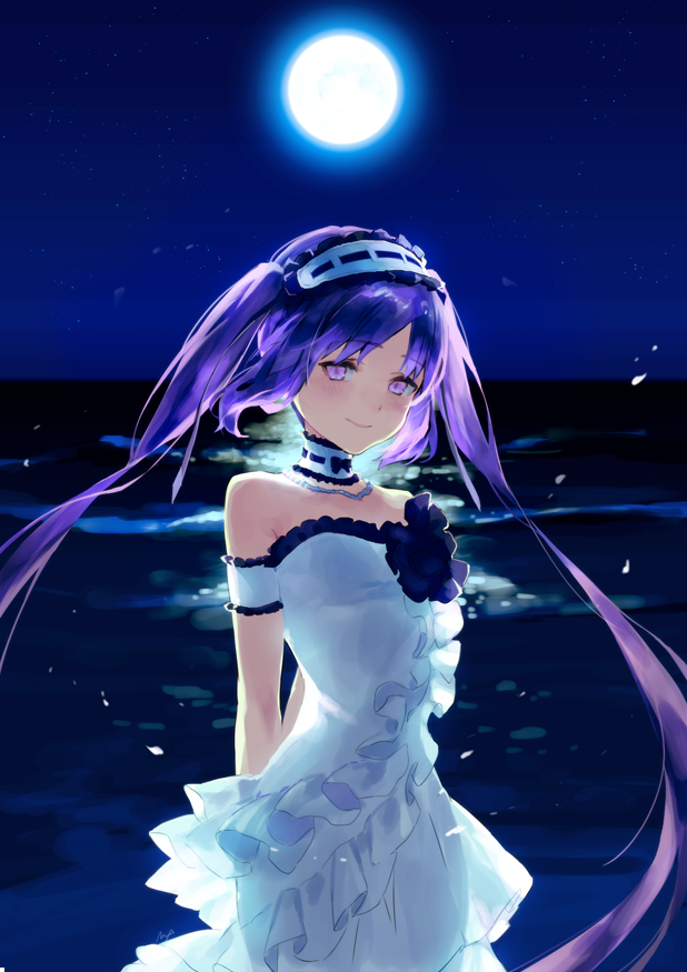 1girl dress fate/grand_order fate_(series) hairband lolita_hairband maeya_susumu moon night ocean purple_hair stheno strapless strapless_dress twintails violet_eyes white_dress