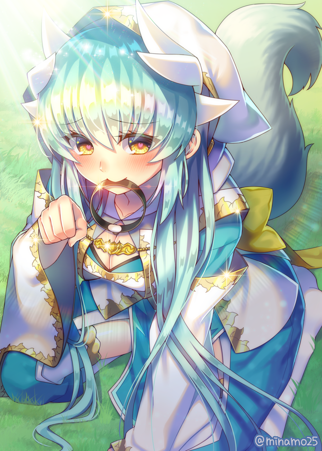 1girl aqua_hair bangs blush breasts cleavage cleavage_cutout commentary_request detached_sleeves dog_tail eyebrows_visible_through_hair fate/grand_order fate_(series) heart heart-shaped_pupils highres hood hoodie japanese_clothes kiyohime_(fate/grand_order) kneeling long_hair looking_at_viewer minamo25 mouth_hold obi paw_pose sash solo symbol-shaped_pupils tail yellow_eyes