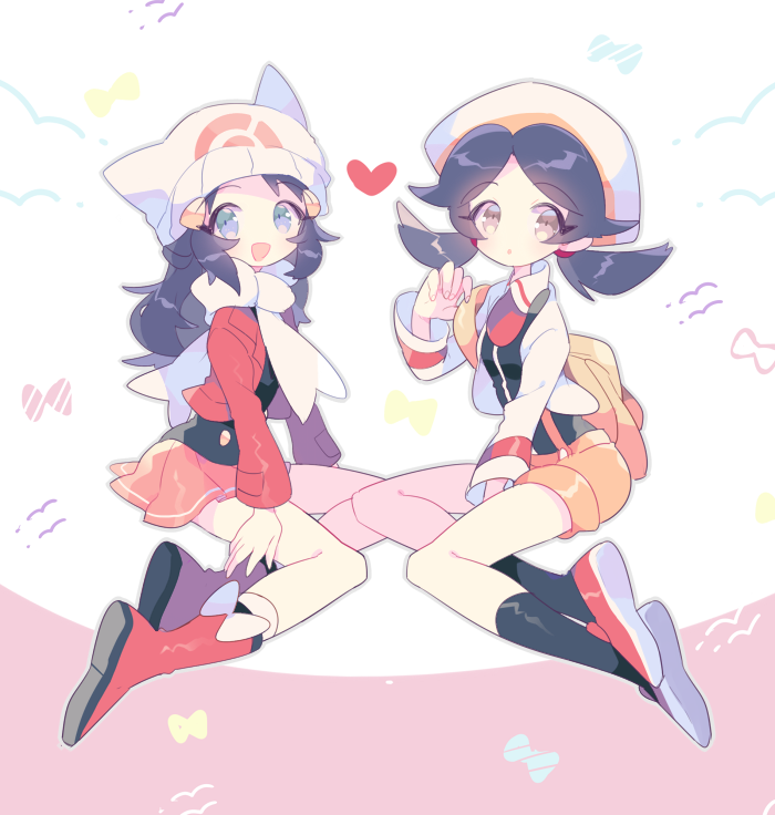 2girls :d :o adapted_costume bangs between_legs black_legwear black_shirt blue_eyes blue_hair boots bow buttons commentary_request cropped_jacket crystal_(pokemon) facing_another from_side full_body grey_eyes hand_between_legs hat hikari_(pokemon) jacket long_hair long_sleeves looking_at_viewer miniskirt multiple_girls no_nose open_clothes open_jacket open_mouth orange_shorts parted_bangs pink_skirt pleated_skirt poke_ball_theme pokemon pokemon_(game) pokemon_dppt pokemon_hgss red_footwear red_jacket scarf shirt shoes shorts skirt smile socks suspender_shorts suspenders takashino_(noni-nani) twintails what_if white_bow white_hat white_jacket white_legwear white_scarf