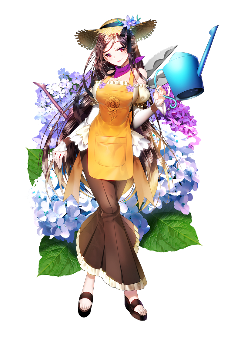 1girl aile_(crossroads) apron bangs black_footwear brown_apron brown_hair brown_skirt closed_mouth copyright_request detached_sleeves eyebrows_visible_through_hair fingernails flower full_body gradient_hair hat head_tilt holding holding_watering_can light_brown_hair long_hair long_sleeves looking_at_viewer multicolored_hair official_art pinky_out pleated_skirt puffy_short_sleeves puffy_sleeves purple_flower red_eyes shears shirt shoes short_over_long_sleeves short_sleeves simple_background skirt sleeves_past_wrists smile solo standing straw_hat very_long_hair watering_can white_background white_flower white_shirt