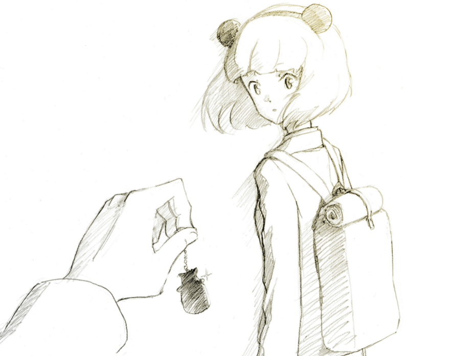2girls animal_ears backpack bag blazer blush cardigan commentary_request fake_animal_ears female_pov graphite_(medium) jacket kuroki_tomoko monochrome multiple_girls out_of_frame pov pov_hands shiratama_(hockey) short_hair sketch traditional_media uchi_emiri watashi_ga_motenai_no_wa_dou_kangaetemo_omaera_ga_warui!
