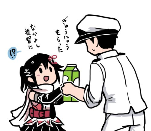 !? 1boy 1girl :d admiral_(kantai_collection) black_hair blush commentary_request from_behind hat kantai_collection looking_at_another lowres open_mouth peaked_cap remodel_(kantai_collection) scarf sendai_(kantai_collection) side_ponytail simple_background sleeves_rolled_up smile solid_oval_eyes terrajin translation_request white_background