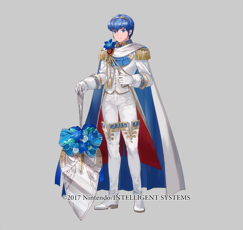 1boy 1girl armor blue_eyes blue_hair cape fire_emblem fire_emblem_heroes formal gloves looking_at_viewer male_focus marth mayo_(becky2006) necktie official_art short_hair simple_background smile solo tuxedo white_background