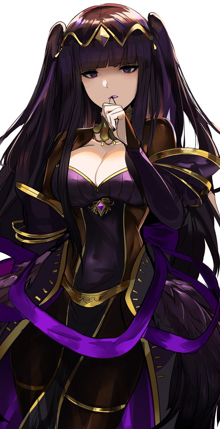 biting black_dress black_feathers black_hair bodystocking bow breasts cleavage dress finger_biting fire_emblem fire_emblem:_kakusei fire_emblem_heroes hair_ornament highres jewelry looking_at_viewer ormille purple_bow tharja violet_eyes