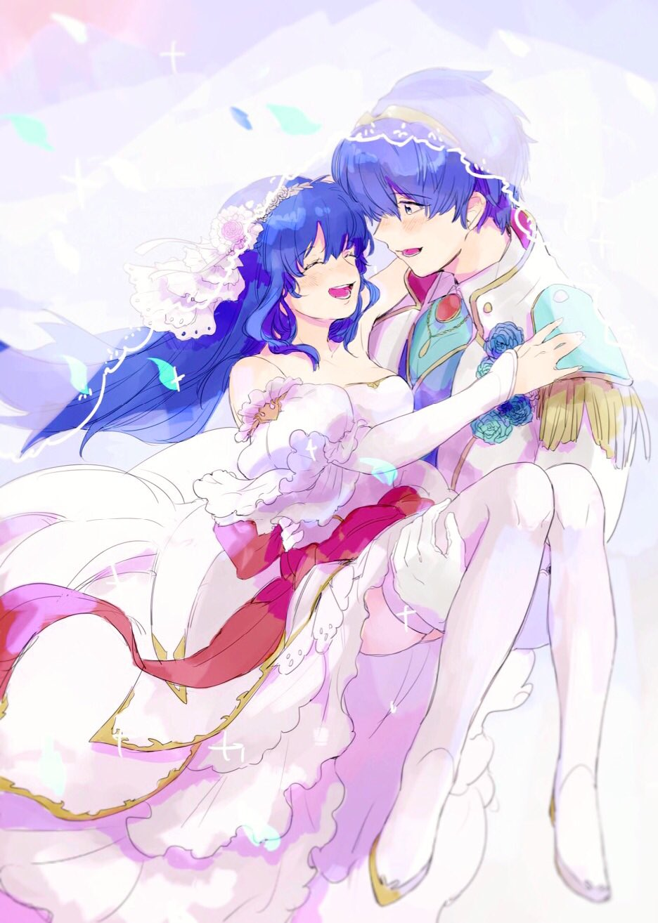 1boy 1girl artist_request bare_shoulders blue_eyes blue_hair blush bouquet bridal_veil bride cape carrying dress elbow_gloves fire_emblem fire_emblem:_monshou_no_nazo fire_emblem_heroes flower formal gloves hair_flower hair_ornament highres husband_and_wife jewelry long_hair marth necklace pegasus_knight princess_carry rose sheeda smile strapless strapless_dress suit thigh-highs tiara tuxedo veil wedding wedding_dress white_dress white_gloves
