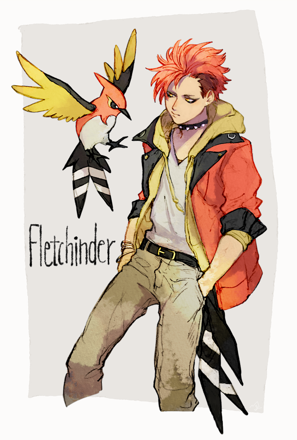 1boy bangle belt bracelet character_name collar earrings eyeliner fletchinder gen_6_pokemon hands_in_pockets highres hood hood_down jacket jewelry makeup male_focus moemon multicolored_hair ngr_(nnn204204) orange_hair orange_jacket pants personification pokemon pokemon_(creature) redhead shirt solo spiked_collar spikes standing stud_earrings two-tone_hair white_shirt yellow_eyes