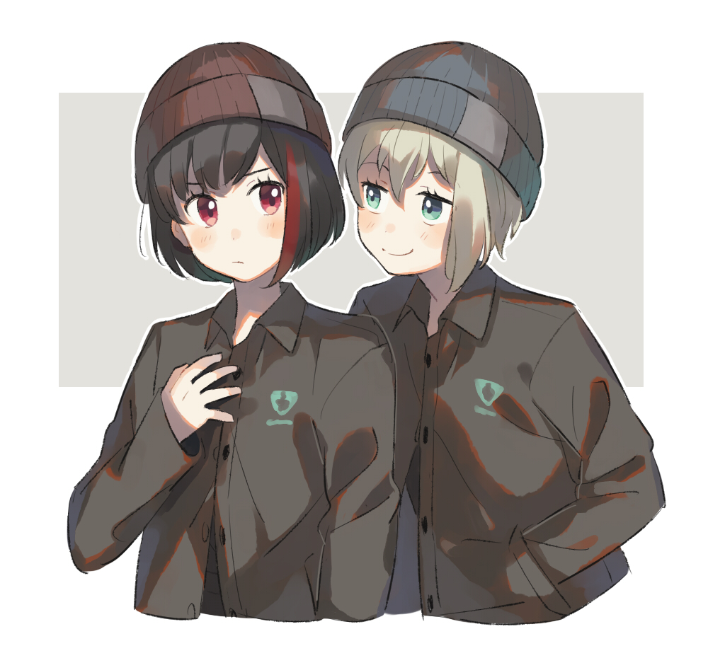 2girls aoba_moka aqua_eyes bang_dream! bangs beanie black_hair black_jacket blue_hat blush bob_cut collared_jacket frown grey_background grey_hair hand_in_pocket hand_on_own_chest hat jacket looking_at_another mitake_ran multicolored_hair multiple_girls outline red_eyes red_hat redhead short_hair smile streaked_hair unapoppo upper_body white_outline