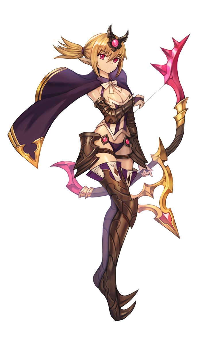 1girl armored_boots blonde_hair boots bow bow_(weapon) breasts brown_gloves cape chainmail cleavage gloves headgear holding holding_bow_(weapon) holding_weapon looking_at_viewer original partly_fingerless_gloves ponytail purple_cape red_eyes short_hair simple_background solo sookmo thigh-highs thigh_boots weapon white_background white_bow