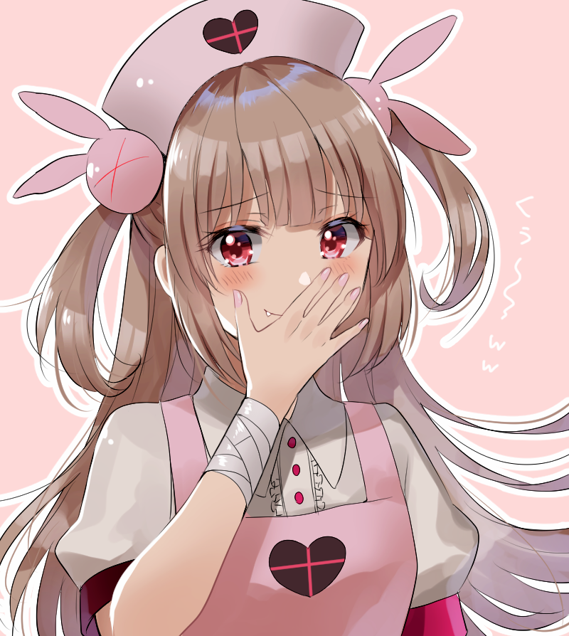>_< 1girl apron bangs blush bunny_hair_ornament center_frills closed_mouth commentary_request eyebrows_visible_through_hair fang fang_out fingernails frills hair_ornament hand_to_own_mouth hand_up hat heart light_brown_hair long_hair looking_at_viewer myusha nail_polish natori_sana nurse_cap pink_apron pink_hat pink_nails puffy_short_sleeves puffy_sleeves red_eyes sana_channel shirt short_sleeves smile solo translated two_side_up very_long_hair virtual_youtuber white_shirt