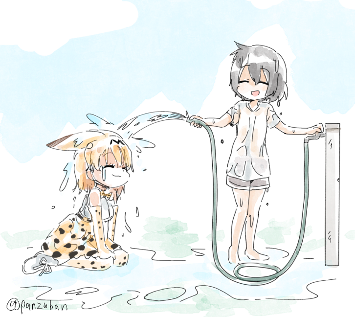 2girls ^_^ alternate_costume animal_ears animal_print bare_legs bare_shoulders barefoot black_hair blue_sky bow bowtie closed_eyes closed_mouth day ears_down elbow_gloves extra_ears eyebrows_visible_through_hair facing_another full_body gloves hands_up happy high-waist_skirt hose kaban_(kemono_friends) kemono_friends multiple_girls no_hat no_headwear no_legwear open_mouth orange_hair outdoors panzuban print_bow print_gloves print_legwear print_neckwear print_skirt see-through serval_(kemono_friends) serval_ears serval_print shirt short_hair short_sleeves shorts sitting skirt sky sleeveless smile thigh-highs twitter_username wariza water wet wet_clothes wet_hair wet_shirt white_footwear white_shirt |3 |d