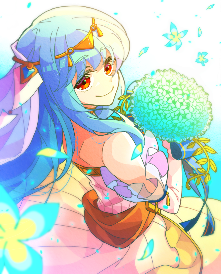 1girl bare_shoulders blue_hair bride dress fire_emblem fire_emblem:_rekka_no_ken fire_emblem_heroes flower formal gloves hair_ornament hzk_(ice17moon) jewelry long_hair looking_at_viewer mamkute necklace ninian red_eyes simple_background smile solo