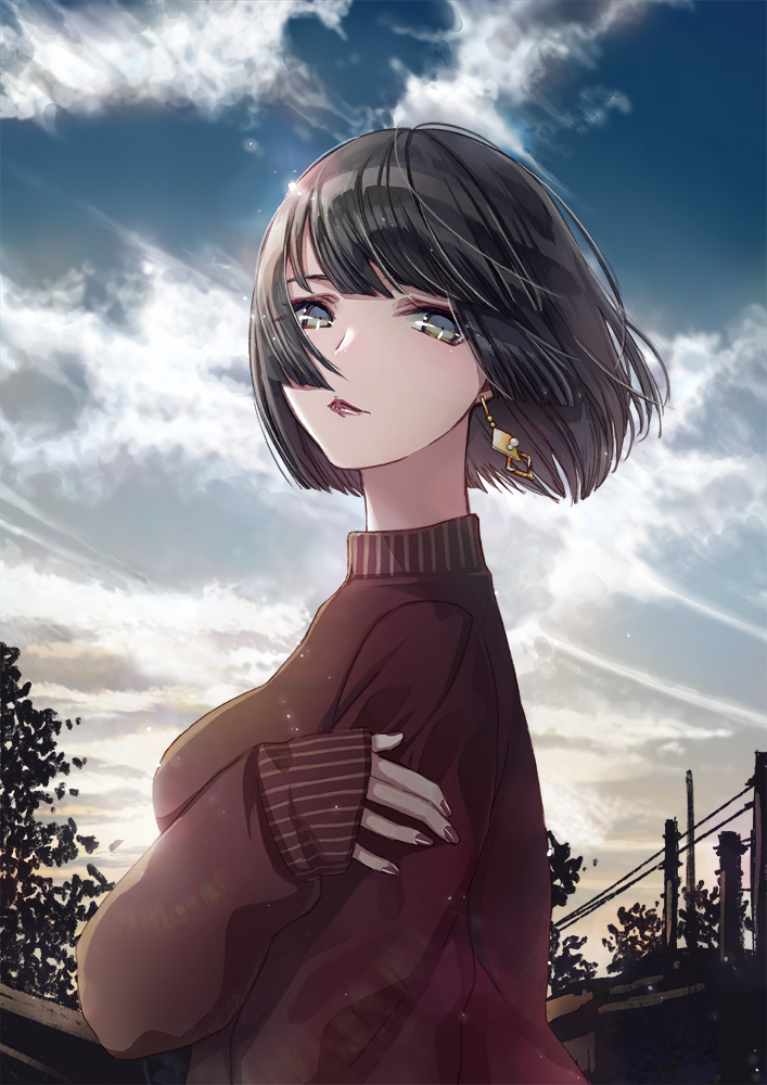 1girl bangs black_hair blue_eyes bob_cut cako_asida clouds earrings jewelry looking_at_viewer original outdoors piercing sky solo sunset sweater tree turtleneck turtleneck_sweater