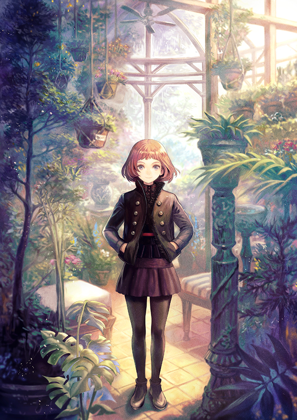 1girl black_jacket black_legwear blush bob_cut brown_hair ceiling_fan closed_mouth day full_body grey_eyes hands_in_pockets hanging_plant indoors jacket leather leather_jacket long_sleeves looking_at_viewer mayachise original pantyhose plant potted_plant scenery short_hair smile