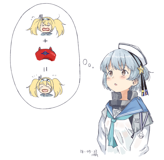 >_< 2girls :d blonde_hair blue_hair blush brown_eyes closed_eyes dated double_bun enemy_lifebuoy_(kantai_collection) gambier_bay_(kantai_collection) hat hat_ribbon kantai_collection kawashina_(momen_silicon) long_hair math medal multiple_girls neckerchief open_mouth parted_lips ribbon sailor_collar samuel_b._roberts_(kantai_collection) shinkaisei-kan short_hair simple_background smile star_hat_ornament thought_bubble twintails upper_body white_background