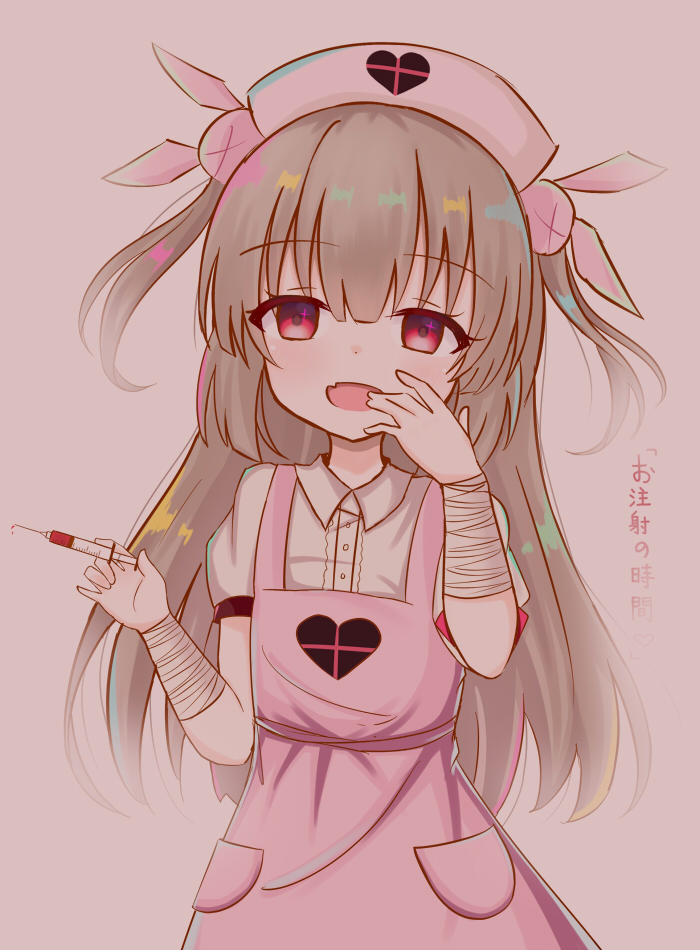 >_< 1girl :d apron bandage bandaged_arm bangs blush bunny_hair_ornament collared_shirt dress_shirt eyebrows_visible_through_hair fang hair_between_eyes hair_ornament hand_to_own_mouth hat head_tilt heart holding holding_syringe light_brown_hair long_hair looking_at_viewer natori_sana nurse nurse_cap open_mouth pink_apron pink_background pink_hat puffy_short_sleeves puffy_sleeves red_eyes sana_channel satori_(ymoy) shirt short_sleeves simple_background smile solo syringe translated two_side_up very_long_hair virtual_youtuber white_shirt