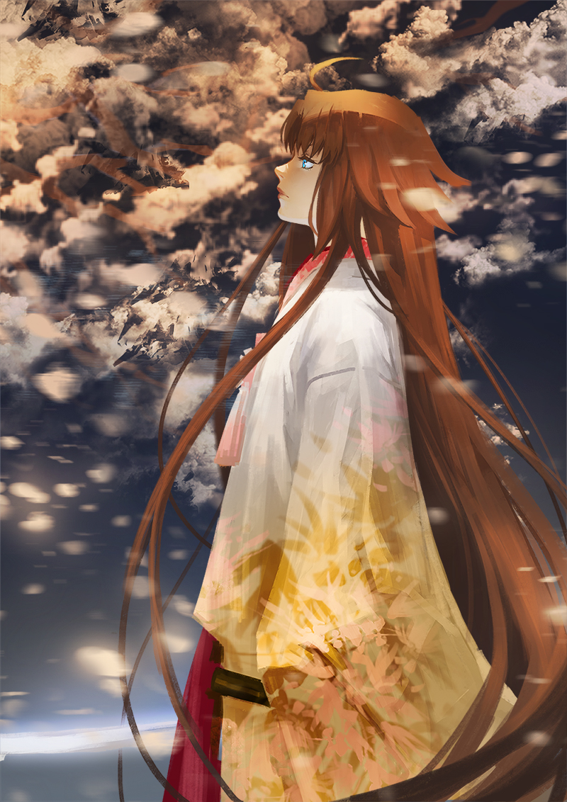 1girl ahoge brown_hair clouds cloudy_sky fate/grand_order fate_(series) japanese_clothes kara_no_kyoukai katana kimono long_hair profile ryougi_shiki scabbard sheath sky solo sword very_long_hair weapon zhoumo_fangjia