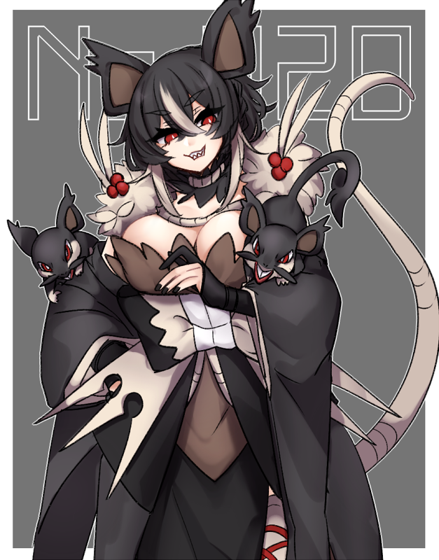 1girl alola_form alolan_raticate alolan_rattata animal_ears bangs black_gloves black_hair black_nails breasts bright_pupils cowboy_shot crossed_bangs eyebrows eyebrows_visible_through_hair eyelashes fingernails fur_collar gen_7_pokemon gloves grin hair_between_eyes hime_(ohime_pkg) large_breasts long_hair long_sleeves mouse_ears mouse_girl mouse_tail multicolored_hair nail_polish number outline partly_fingerless_gloves personification pokemon pokemon_(creature) raticate rattata red_eyes smile streaked_hair tail tail_raised teeth two-tone_hair v-shaped_eyebrows white_hair white_outline white_pupils wide_sleeves