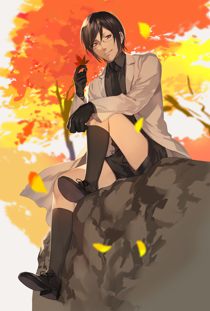 1boy autumn autumn_leaves black_hair black_legwear glasses kneehighs labcoat leaf male_focus maple_leaf necktie okki2012 shorts sitting sitting_on_rock smile solo touken_ranbu violet_eyes yagen_toushirou