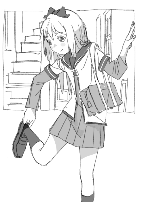 1girl :/ arm_up bag blush_stickers border bow dress greyscale hair_bow hair_ornament hairband hand_up indoors kneehighs leg_lift light_smile loafers long_hair looking_down monochrome nanamori_school_uniform outside_border pleated_dress putting_on_shoes sailor_collar sailor_dress school_bag school_uniform shoes short_over_long_sleeves sleeve_cuffs socks solo stairs tareme toshinou_kyouko uuo yuru_yuri