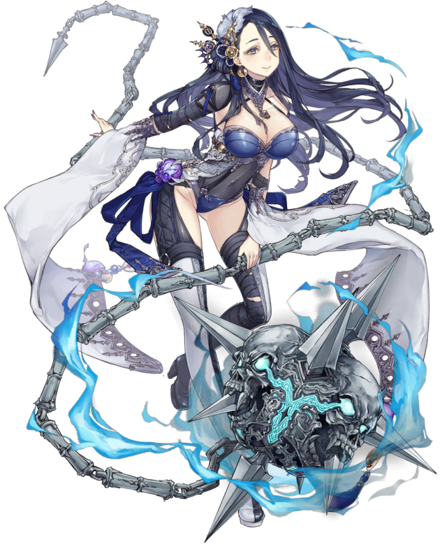 1girl black_hair breasts flail full_body grey_eyes high_heels jino kaguya_hime_(sinoalice) large_breasts long_hair looking_at_viewer official_art sinoalice skin_tight skull smile solo transparent_background weapon wide_sleeves