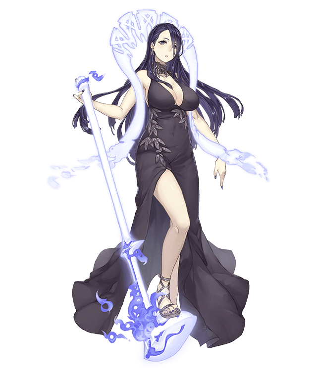 1girl asymmetrical_bangs asymmetrical_hair bangs black_hair breasts contemporary dress earrings full_body grey_eyes jewelry jino kaguya_hime_(sinoalice) large_breasts long_hair looking_at_viewer microphone nail_polish official_art sandals singer sinoalice solo transparent_background