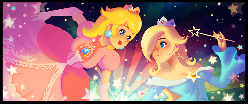 2girls bangs blonde_hair blue_dress blush breasts cleavage closed_mouth crown dress earrings elbow_gloves gem gloves hair_over_one_eye holding holding_wand jewelry jisoo_kim long_hair long_sleeves mario_(series) medium_breasts multiple_girls open_mouth pink_dress princess princess_peach puffy_short_sleeves puffy_sleeves rosetta_(mario) short_sleeves smile star star_earrings swept_bangs upper_body wand wide_sleeves