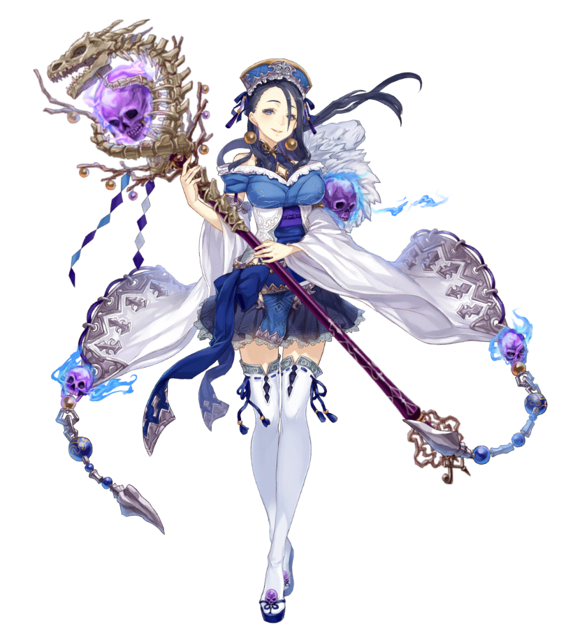 1girl bare_shoulders black_hair bone earrings frilled_skirt frills full_body fur_trim grey_eyes hat holding holding_staff jewelry jino kaguya_hime_(sinoalice) looking_at_viewer off_shoulder official_art sandals sinoalice skirt skull smile solo staff thigh-highs white_background wide_sleeves