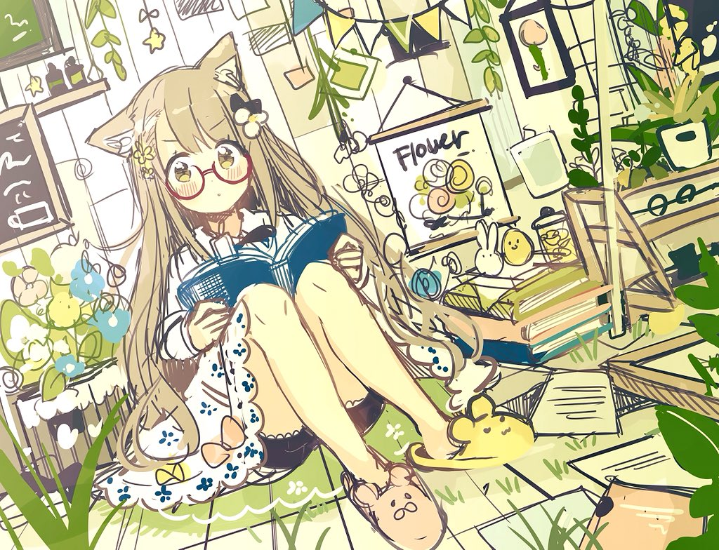 1girl :o animal_ears animal_slippers black_bow black_shorts blue_flower blush book bookmark bow brown_footwear cat_ears commentary dress dutch_angle flower hair_bow hair_flower hair_ornament holding holding_book indoors light_brown_hair long_hair long_sleeves looking_at_viewer mismatched_footwear open_book original paper parted_lips pennant red-framed_eyewear sakura_oriko semi-rimless_eyewear short_shorts shorts shorts_under_dress sitting sketch slippers solo star string_of_flags under-rim_eyewear very_long_hair white_dress white_flower yellow_eyes yellow_flower yellow_footwear