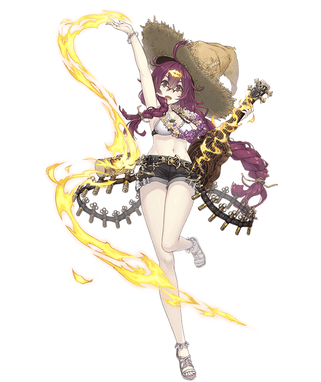 1girl :d arm_up asymmetrical_hair braid canister dorothy_(sinoalice) flower flower_necklace full_body glasses hair_ornament hairclip hat instrument jewelry jino long_hair messy_hair navel necklace official_art open_mouth purple_hair sandals shorts sinoalice smile solo standing standing_on_one_leg straw_hat swimsuit transparent_background ukulele violet_eyes