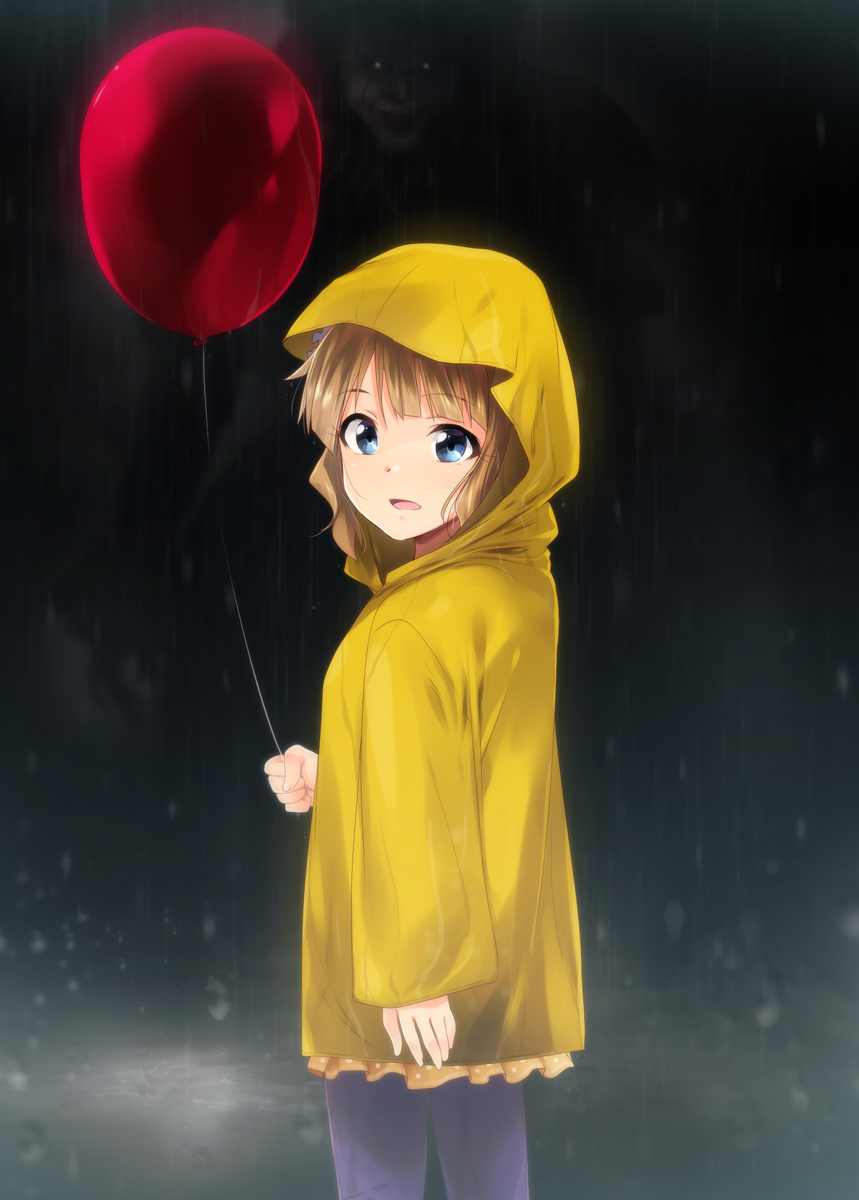 1boy 1girl balloon blue_eyes brown_hair commentary_request from_behind highres idolmaster idolmaster_million_live! it_(stephen_king) kaiga looking_at_viewer pennywise rain raincoat short_hair suou_momoko yellow_coat