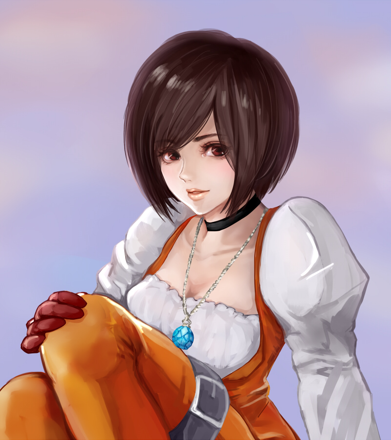 1girl black_hair bodysuit breasts cleavage commentary_request final_fantasy final_fantasy_ix garnet_til_alexandros_xvii gloves jewelry lips looking_at_viewer necklace orange_bodysuit short_hair smile solo