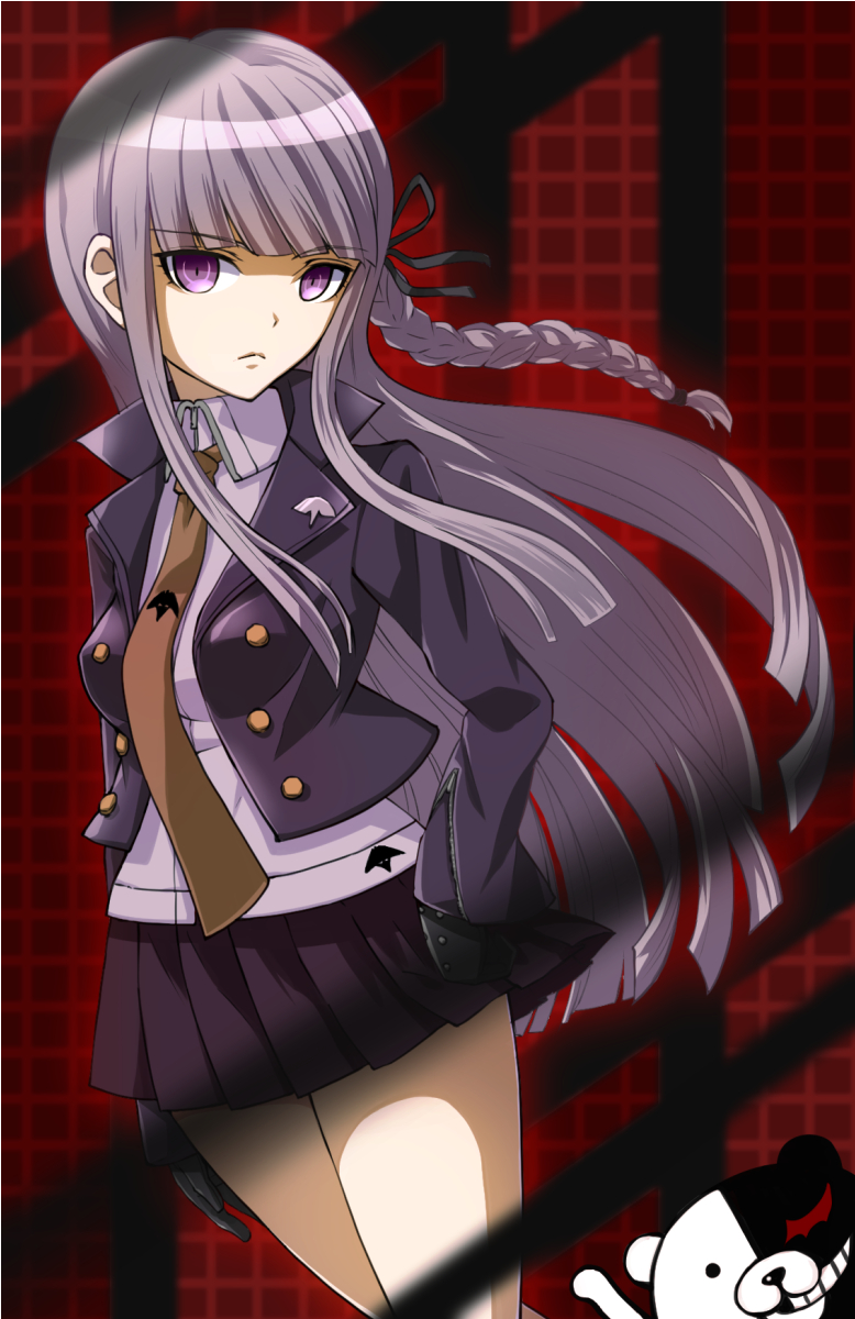 1girl black_gloves black_ribbon blazer braid brown_neckwear cowboy_shot danganronpa danganronpa_1 gloves hair_ribbon hand_on_hip highres jacket kirigiri_kyouko lavender_hair lavender_shirt long_hair long_sleeves looking_at_viewer monokuma necktie pleated_skirt purple_blazer purple_skirt red_background ribbon school_uniform shirt skirt solo_focus tyone violet_eyes