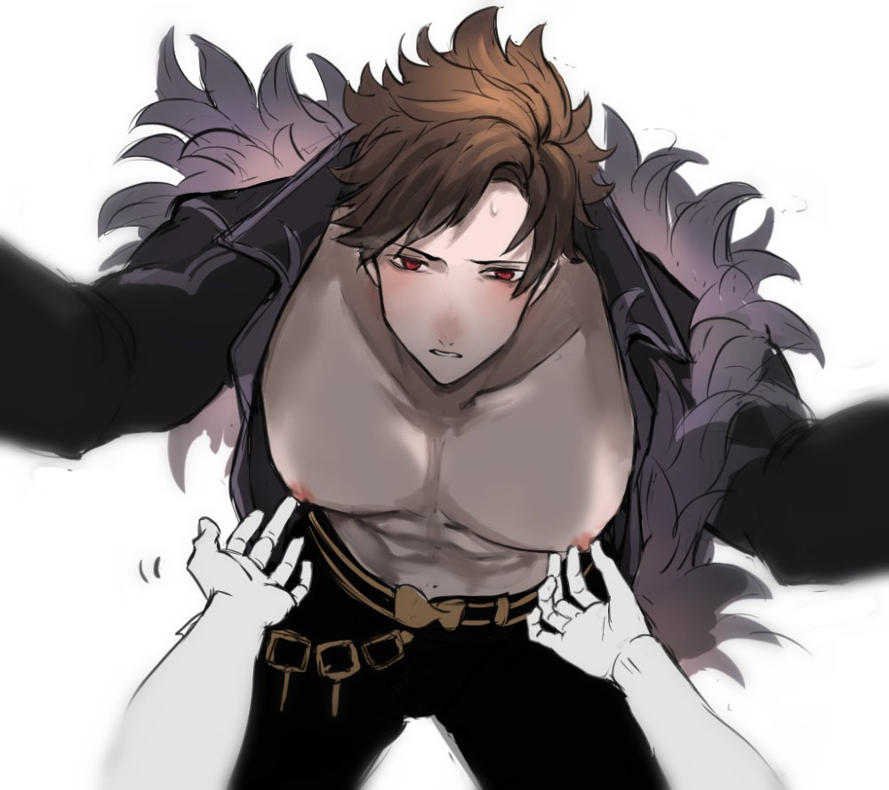 1boy abs belial_(granblue_fantasy) belt bent_over black_pants black_shirt brown_hair feather_boa granblue_fantasy looking_at_viewer male_focus nipple_tweak nipples open_clothes open_shirt pants parted_lips pectorals pov red_eyes shirt simple_background sweat white_background