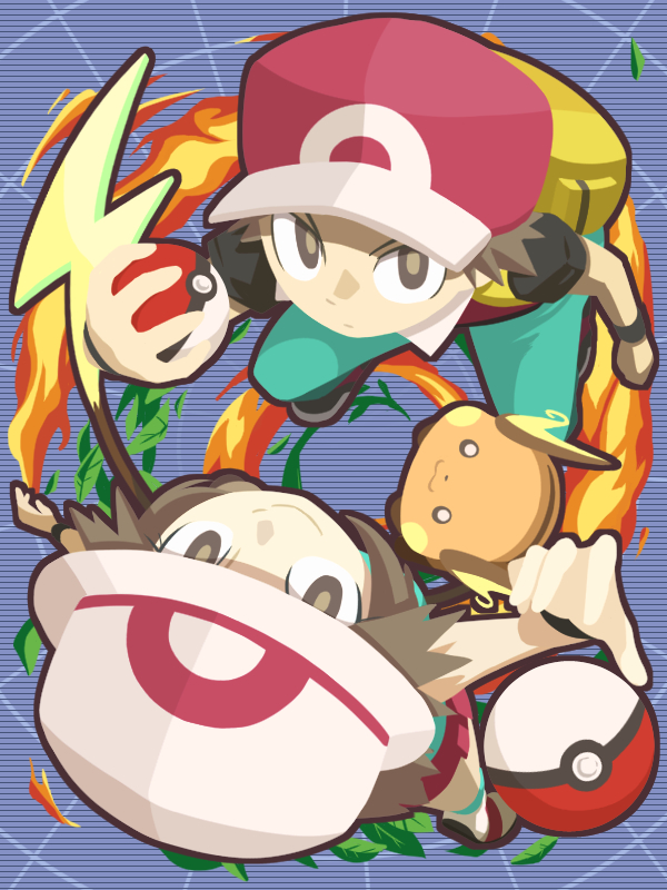 1boy 1girl :3 aqua_legwear aqua_pants aqua_shirt backpack bag baseball_cap blue_(pokemon) bright_pupils brown_eyes brown_hair cafe_(chuu_no_ouchi) closed_mouth eyelashes fire from_above gen_1_pokemon hand_up hat holding holding_poke_ball leaf long_hair looking_at_viewer looking_up miniskirt pants pleated_skirt poke_ball poke_ball_(generic) poke_ball_theme pokemon pokemon_(creature) pokemon_(game) pokemon_frlg raichu red_(pokemon) red_(pokemon_frlg) red_hat red_skirt shirt shoes short_hair short_sleeves skirt smile standing tiptoes white_footwear white_hat wristband