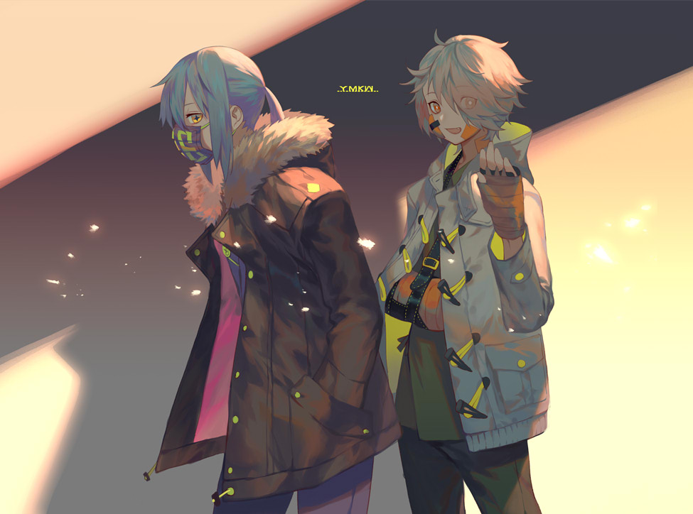 +_+ 2girls :d bandaid bandaid_on_face black_coat blonde_hair blue_hair bright_pupils cast coat eyes_visible_through_hair from_side fur_trim green_pants green_shirt hand_up long_sleeves looking_at_viewer multiple_girls open_clothes open_coat open_mouth orange_eyes original pants purple_pants shirt short_hair smile surgical_mask twintails waving white_coat yamakawa
