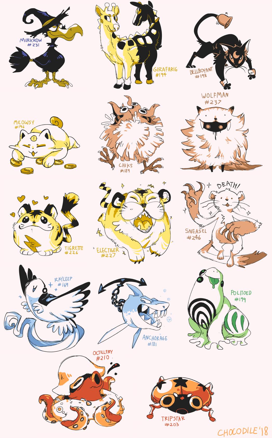 chocodiley gen_2_pokemon girafarig highres murkrow octillery pokemon politoed sneasel wolfman