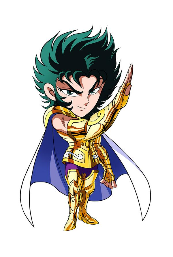 1boy armor blue_cape boots breastplate cape capricorn_shura chibi closed_mouth commentary_request fighting_stance fingerless_gloves gauntlets gloves gold_armor gold_saint green_eyes green_hair hand_up kotatsu_(g-rough) looking_at_viewer male_focus saint_seiya simple_background smile solo standing white_background