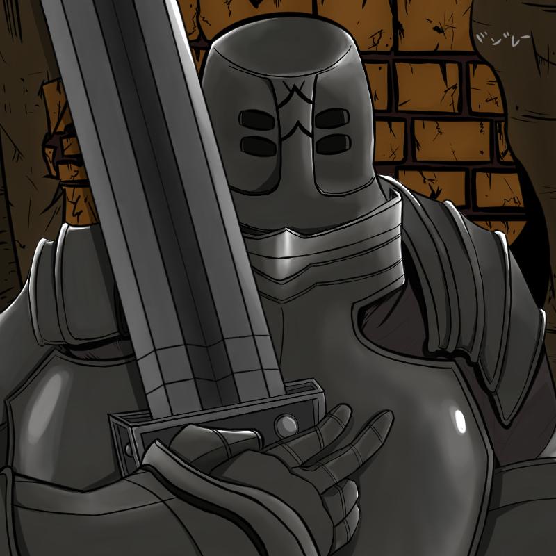armor brick_wall dark_souls holding holding_sword holding_weapon iron_tarkus knight mizoreeart over_shoulder self_upload souls_(from_software) standing sword weapon weapon_over_shoulder