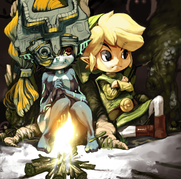 crossover fang fire fireplace frown grey_skin hat helmet imp imp_midna koki_(pixiv) link long_hair midna nintendo orange_hair pants pointy_ears red_eyes smile the_legend_of_zelda toon_link trousers twilight_princess wii_version