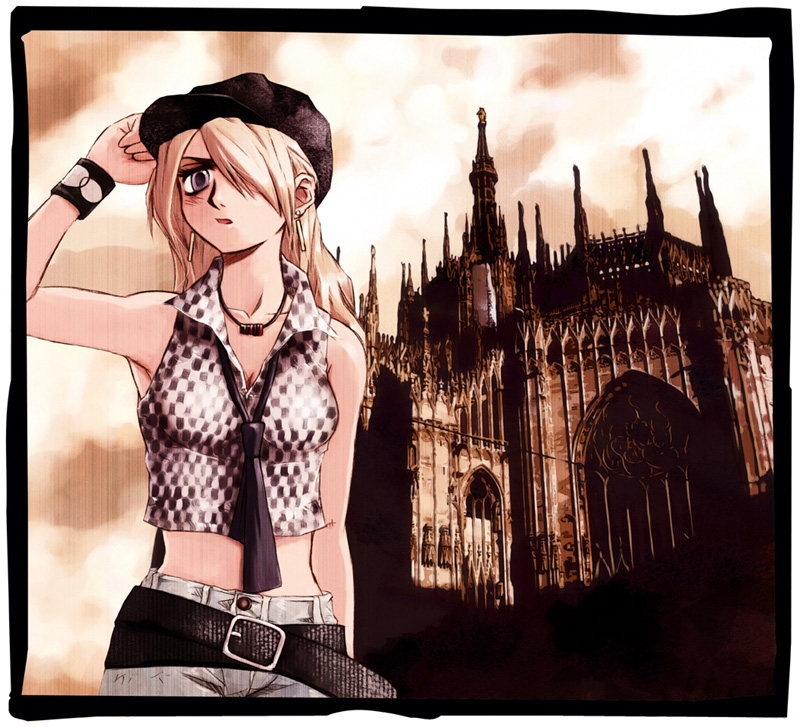 belt blonde_hair blue_eyes bracelet breasts button cabbie_hat checkerboard checkered church cleavage cloud clouds cuff earrings evening frame gothic gothic_architecture hair_over_one_eye hat jeans jewelry long_hair messiah(artist) messiah_cage midriff mystic_cage necklace necktie photo photo_(object) photo_background sky standing wristband