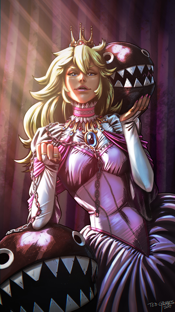1girl arm_support artist_name blonde_hair blue_eyes bridal_gauntlets brooch carrying chain_chomp chains choker crown dress hair_between_eyes hands_up highres holding holding_chain jewelry leaning_to_the_side lips lipstick long_hair looking_at_viewer makeup mario_(series) nail_polish open_mouth pink_dress pink_lips pink_nails princess_peach ring sharp_teeth short_sleeves smile super_mario_bros. ted_graves teeth upper_body