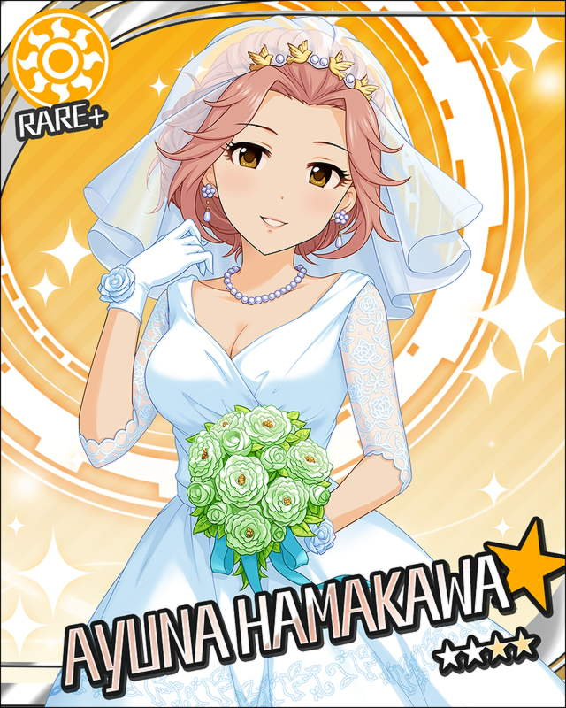 blush brown_eyes character_name dress hamakawa_ayuna idolmaster idolmaster_cinderella_girls long_hair pink_hair smile stars wedding