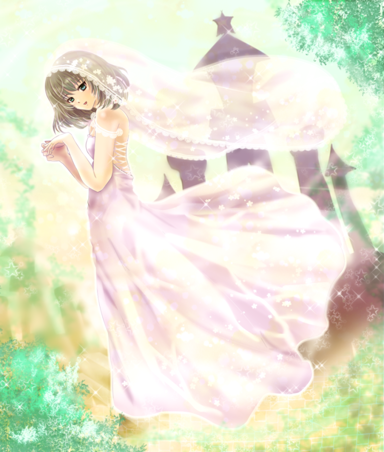 1girl alternate_costume arm_garter bangs blue_eyes blue_sky bridal_veil bush clouds commentary_request day dress dutch_angle green_eyes hands_together head_tilt heterochromia idolmaster idolmaster_cinderella_girls interlocked_fingers light_brown_hair outdoors short_hair sky solo sparkle standing star strapless strapless_dress takagaki_kaede tower tree tsukiori_sasa veil wedding_dress wind wind_lift