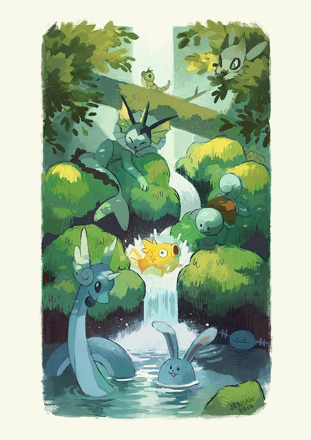 2017 alternate_color artist_name azumarill caterpie celebi commentary dratini english_commentary exeggcute forest image_sample jeniak magikarp nature no_humans pokemon pokemon_(creature) shiny_pokemon squirtle tumblr_sample vaporeon water waterfall wooper